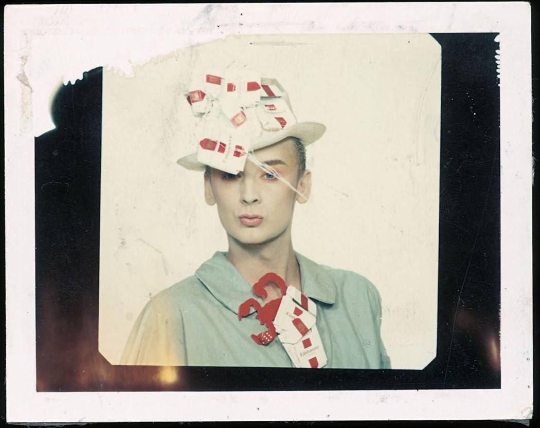 """""""Boy George in customised """"fag packet"""" hat & tie. Paul Gobel took the photo."""" Taken from the January 2007 issue of Dazed"""